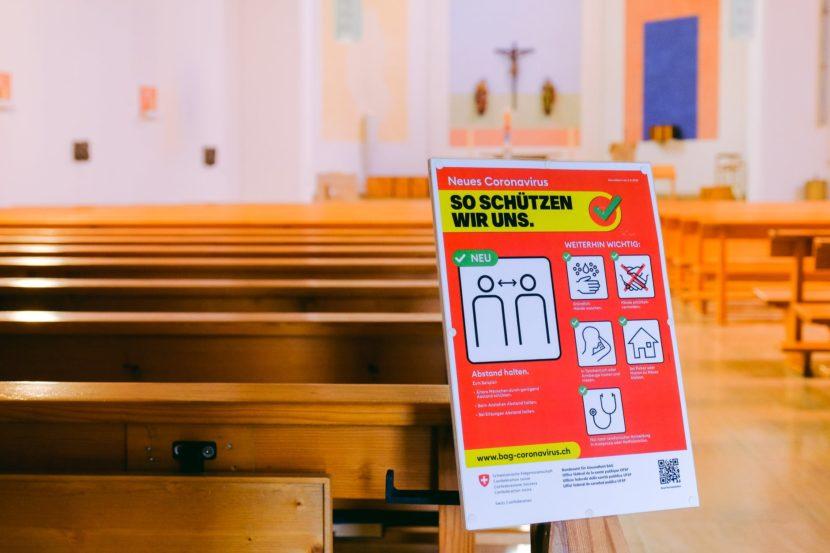 warning sign in church